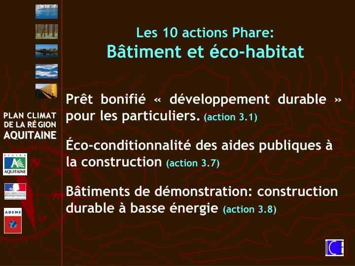 Les 10 actions Phare: