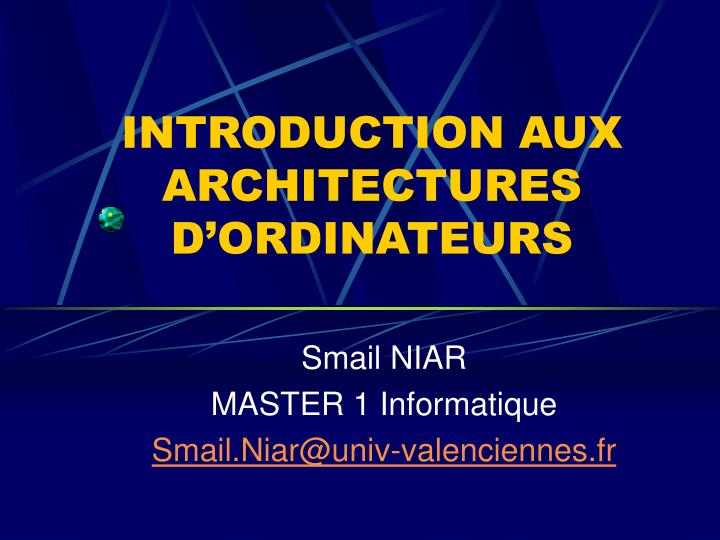 introduction aux architectures d ordinateurs n.