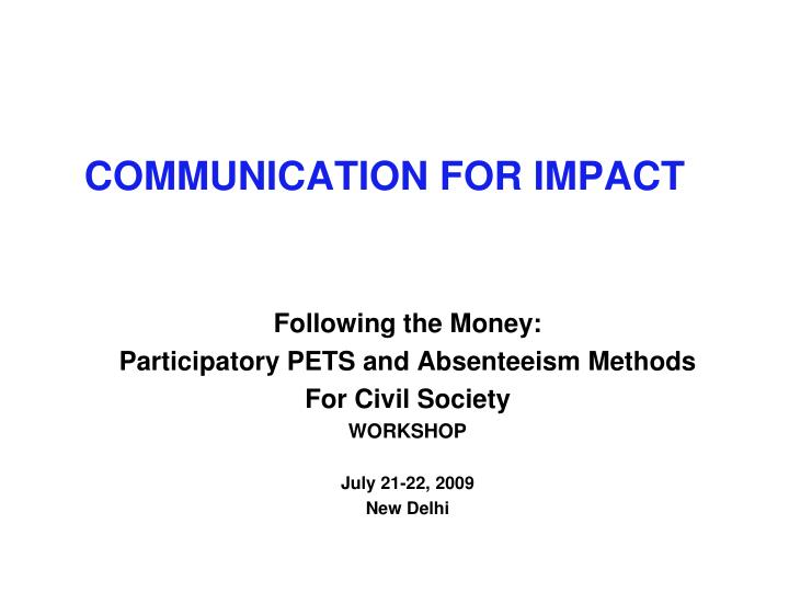 communication for impact n.