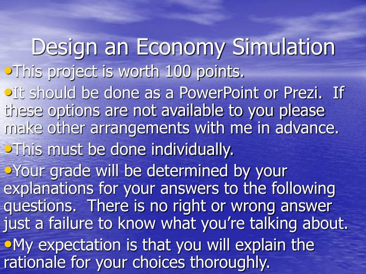 design an economy simulation n.