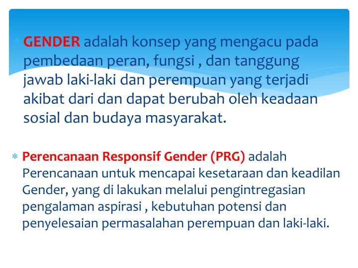 Perencanaan Responsif Gender (PRG)