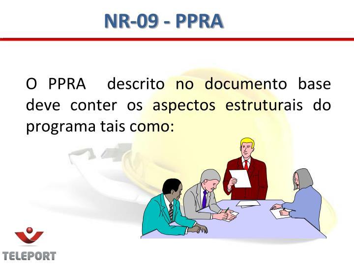 O PPRA  descrito no documento base deve conter os aspectos estruturais do programa tais como: