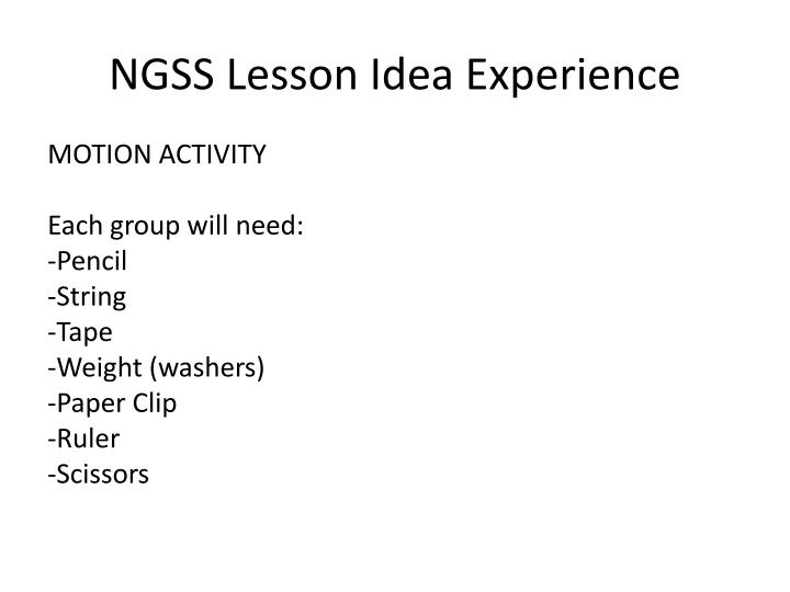 NGSS Lesson Idea Experience