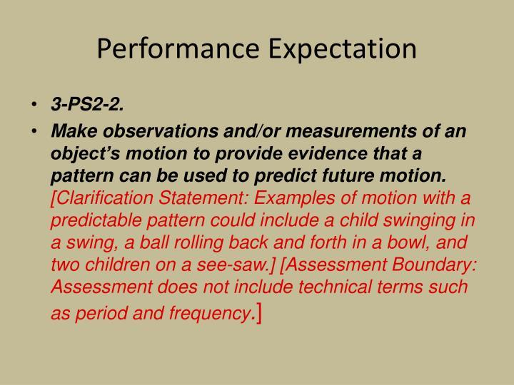 Performance Expectation