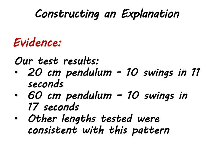 Constructing an Explanation