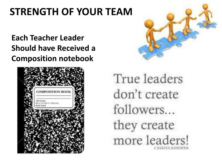 Each Teacher Leader Should have Received a Composition notebook