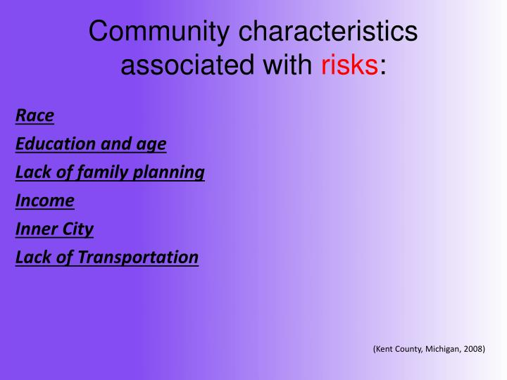 Community characteristics associated with
