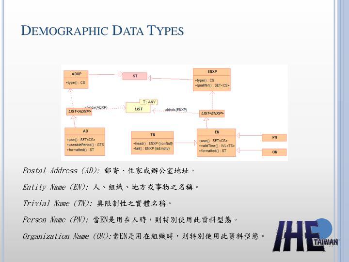 Demographic Data Types