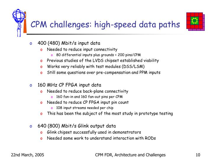 CPM challenges: high-speed data paths
