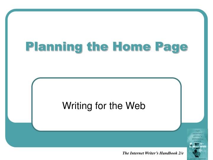 planning the home page n.