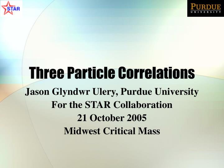 three particle correlations n.