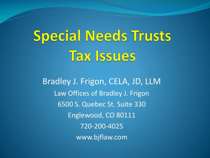 special needs trusts tax issues n.