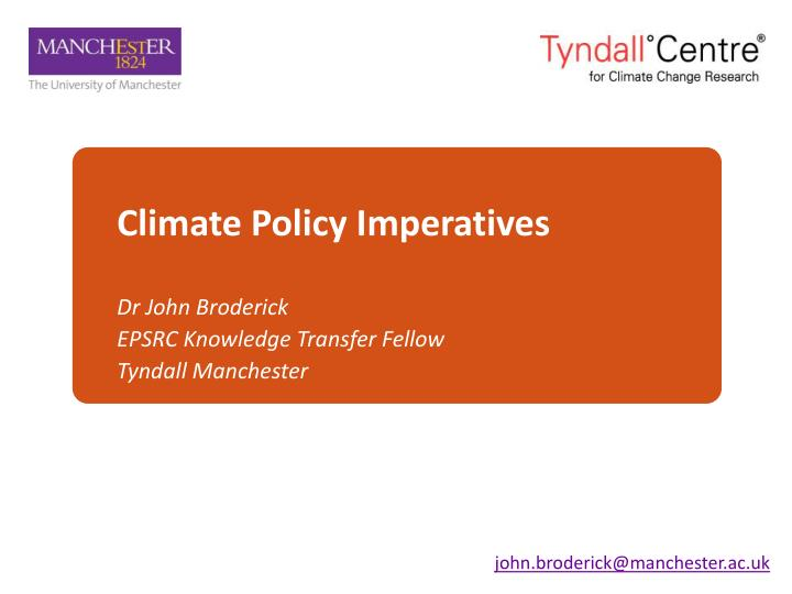 climate policy imperatives n.