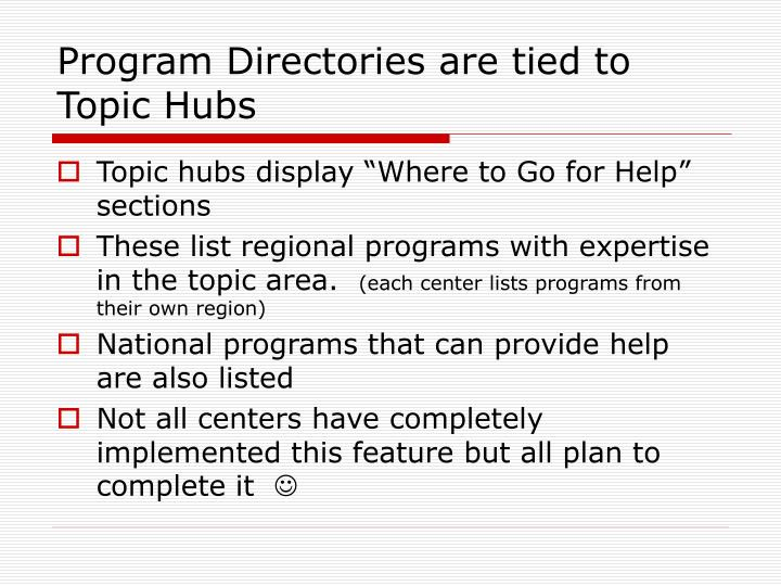 Program Directories are tied to Topic Hubs