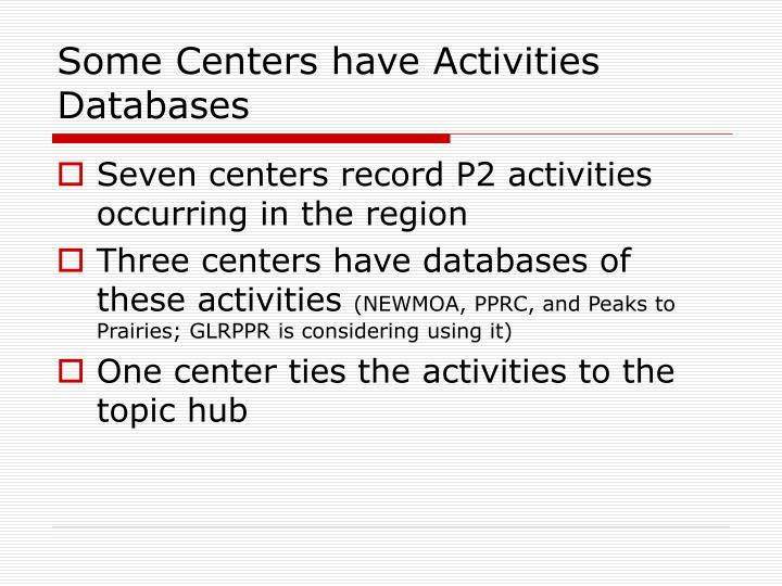 Some Centers have Activities Databases
