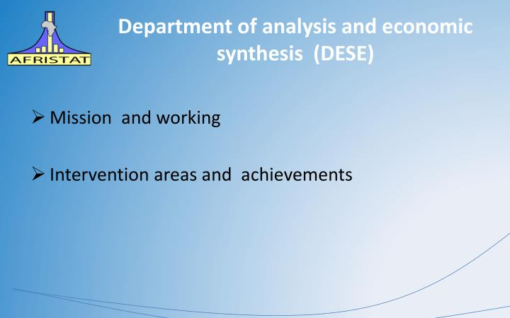 department of analysis and economic synthesis dese n.