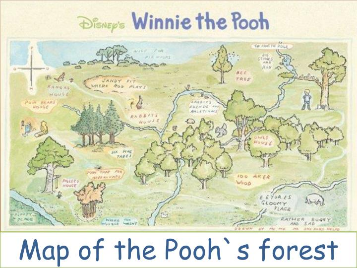 Map of the Pooh`s forest
