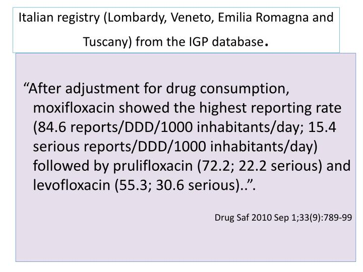 Italian registry (Lombardy, Veneto, Emilia Romagna and Tuscany) from the IGP database