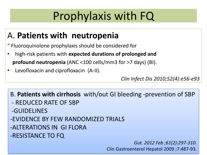 Prophylaxis with FQ