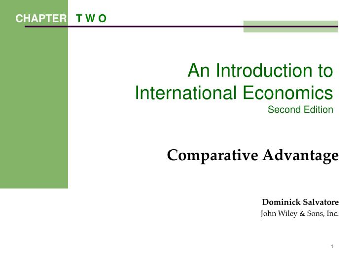 an introduction to international economics second edition n.