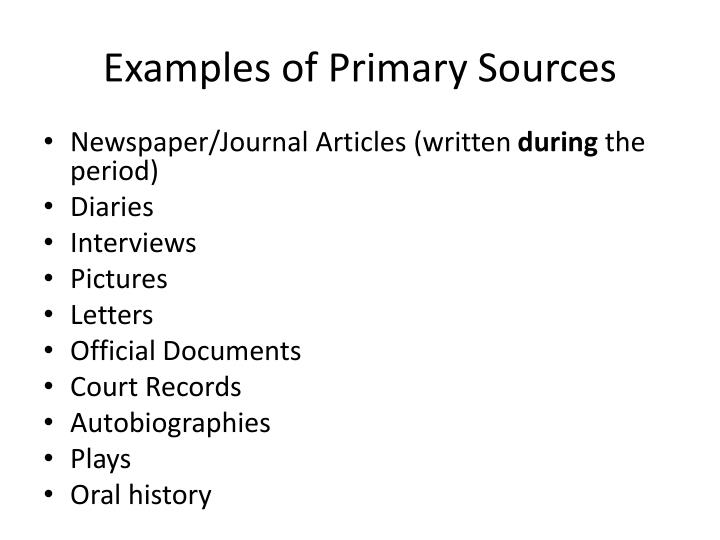 examples of oral sources