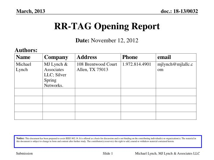 rr tag opening report n.