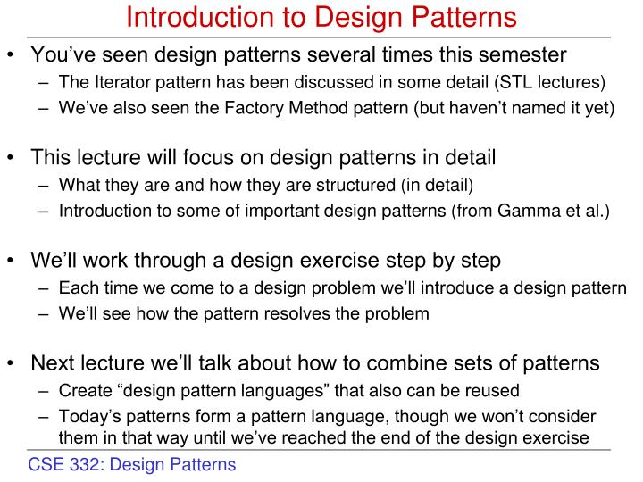 introduction to design patterns n.