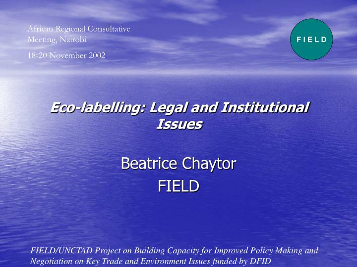 eco labelling legal and institutional issues n.