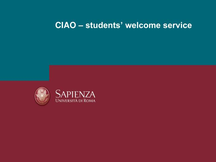 ciao students welcome service n.
