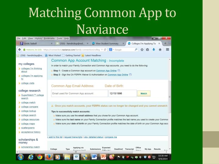 Matching Common App to