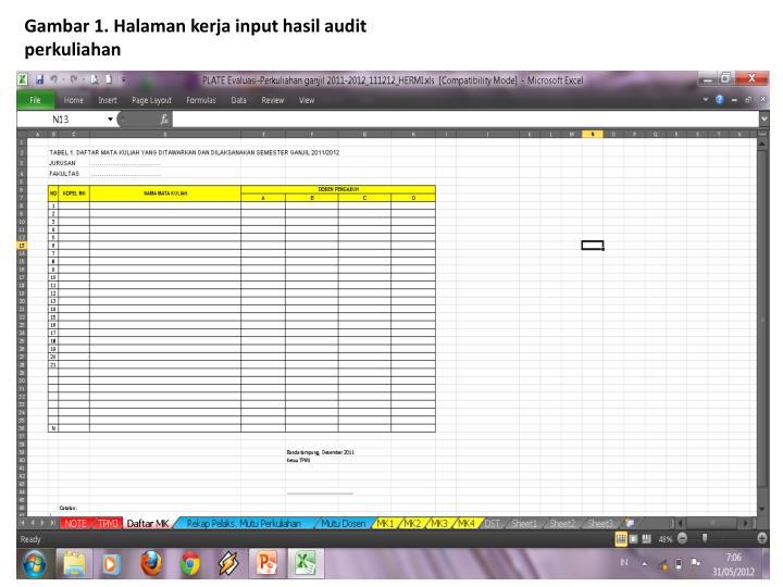 Gambar 1. Halaman kerja input hasil audit perkuliahan