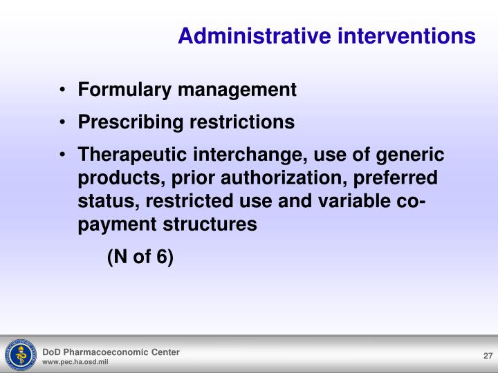 Administrative interventions