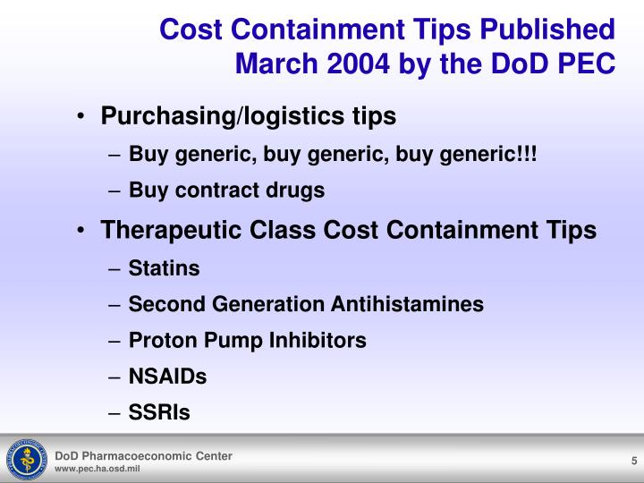 Cost Containment Tips Published