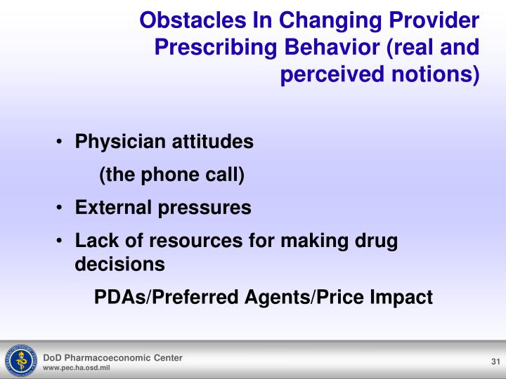 Obstacles In Changing Provider Prescribing Behavior (real and perceived notions)