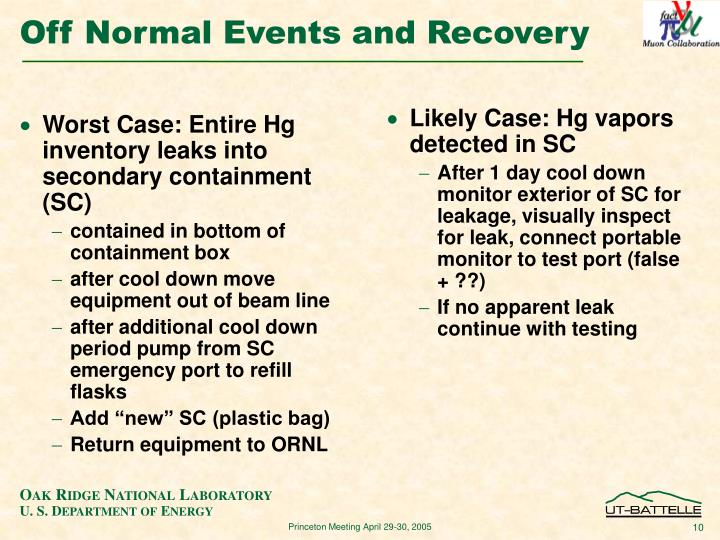 Worst Case: Entire Hg inventory leaks into secondary containment (SC)