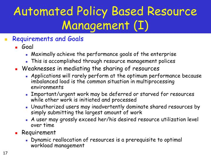 Automated Policy Based Resource Management (I)
