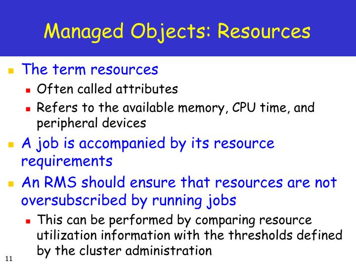 Managed Objects: Resources