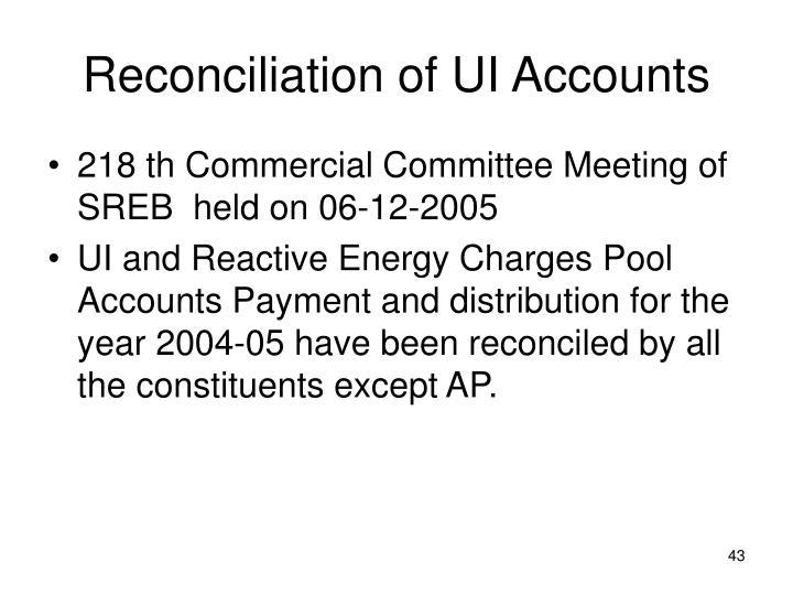 Reconciliation of UI Accounts