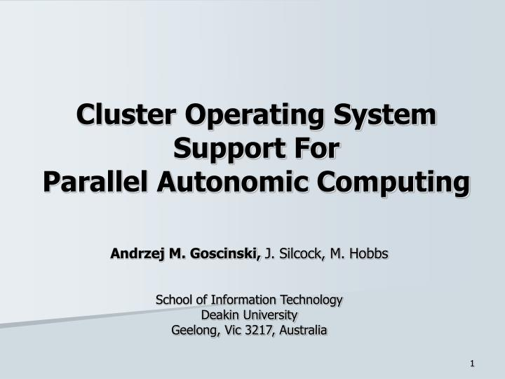 cluster operating system support for parallel autonomic computing n.