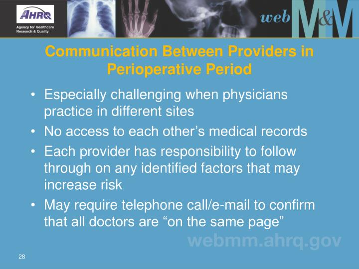 Communication Between Providers in Perioperative Period