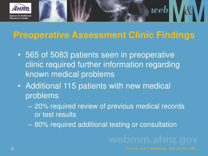 Preoperative Assessment Clinic Findings