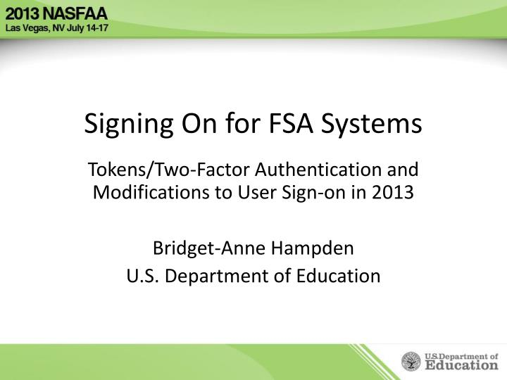 signing on for fsa systems n.