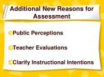 additional new reasons for assessment