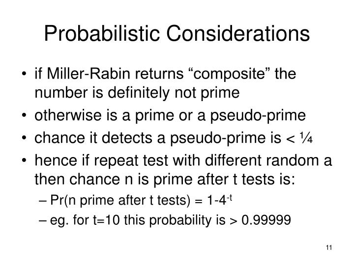 Probabilistic Considerations