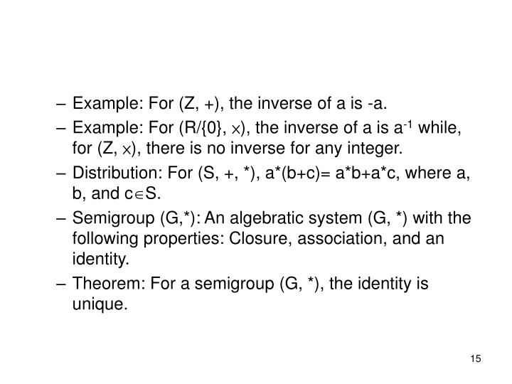 Example: For (Z, +), the inverse of a is -a.