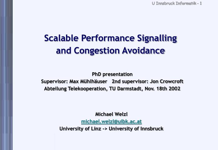 scalable performance signalling and congestion avoidance n.