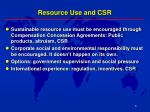 resource use and csr