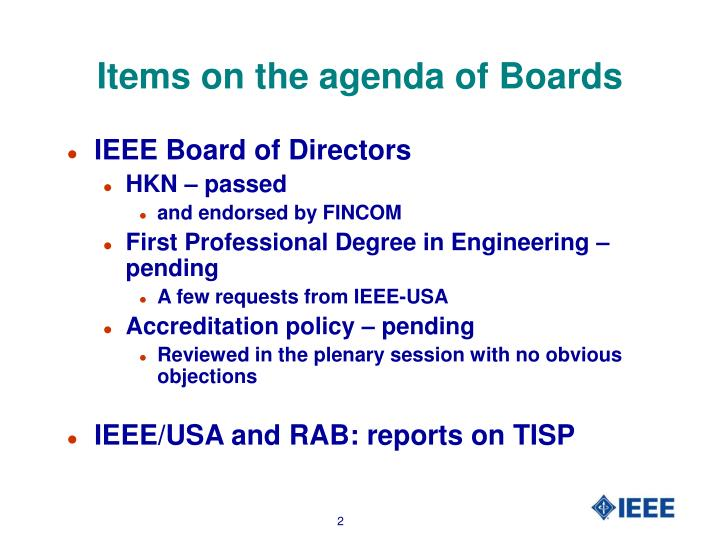 Items on the agenda of boards