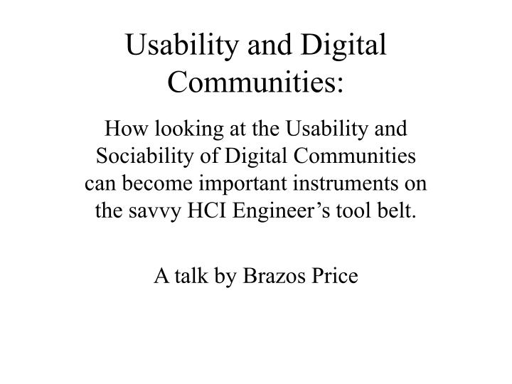usability and digital communities n.