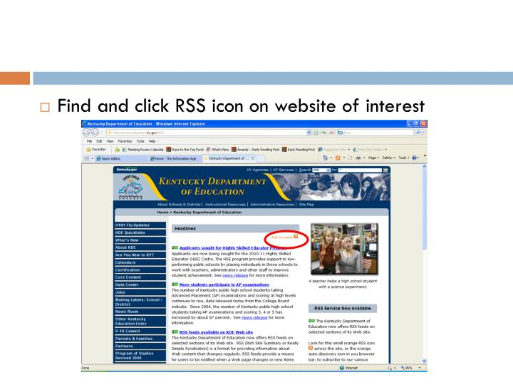 Find and click RSS icon on website of interest